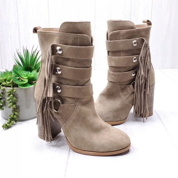 Zara Shoes - Zara Suede Zip Up Fringe Heel Boots Size 7